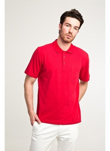 Kiğılı Polo Yaka Düz Regular Fit Tişört Kırmızı